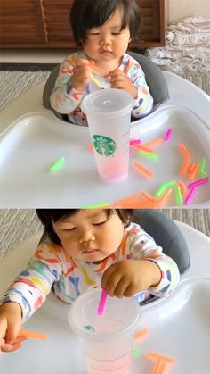 Cup and Straw Fine Motor Skills Activity For Babies And Toddlers Cup und Stroh Feinmotorik Aktivität für Babys und Kleinkinder FUN STUFF for the KIDS Activities For 1 Year Olds, Motor Skills Activities, Toddler Learning Activities, Infant Activities, Preschool Activities, Indoor Activities, Fine Motor Activity, All About Me Activities For Toddlers, 15 Month Old Activities