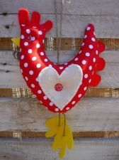 Shabby/ Country Chic Hanging Chicken with Applique Heart Red White Dotty Fabric