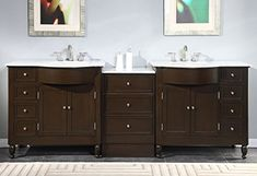 Special Offers - Silkroad Exclusive Marble Stone Top Double Sink Bathroom Vanity with Dark Walnut Cabinet 95-Inch - In stock & Free Shipping. You can save more money! Check It (April 10 2016 at 05:30AM) >> http://bathvanitiesusa.net/silkroad-exclusive-marble-stone-top-double-sink-bathroom-vanity-with-dark-walnut-cabinet-95-inch/