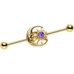 Purple Faux Opal Gold Anodized Moon and Sun Industrial Barbell 38mm | Body Candy Body Jewelry
