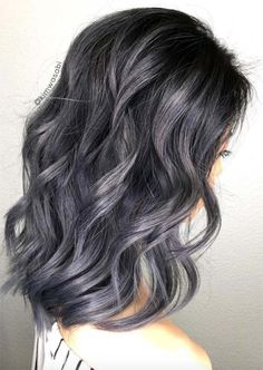 Silver Hair Trend: 51 Cool Grey Hair Colors & Tips for Going Gray - Trends Frisuren Balayage Hair Grey, Balayage Hair Caramel, Silver Ombre Hair, Ombre Hair Color, Gray Hair, Black And Grey Hair, Blue Ombre, Brown Hair, Natural Curls
