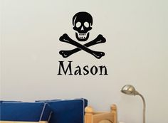 Skull personalized wall decal