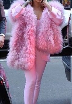 pink coat/fur  pink pants