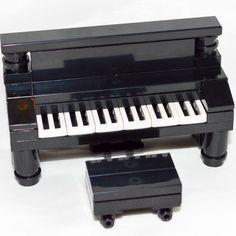 LEGO Furniture: Black Piano & Bench Set w/ Parts & Instructions [custom,house] #LEGO