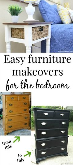 5 easy nightstand and dresser makeovers - such a cheap way to update a bedroom and get a whole new look! Great tutorials for using spray paint, clay paint and other paints!