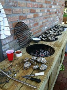 Oyster shucking table.