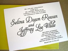 wedding invite. love black and white against an accent color! plus mixing  cursive and modern fonts!