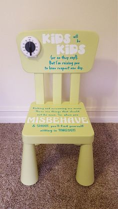 Time Out Chair - Neutral - Kids - With Timer - Timeout Chair - Kid Chair Personalized Childrens Timeout Chair Neutral by FoxEtchingDesigns Time Out Chair, Babysitting Activities, Reading Activities, Baby Life Hacks, Toddler Chair, Bookshelves Kids, Bookshelf Diy, Diy Chair, Chair Bench