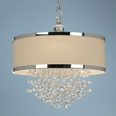 Possible chandelier for Master Bath.  Like the chrome (matches finishes in bathroom) and crystals!!  ~$570