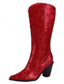 Because everyone needs a pair of red sequin cowboy boots