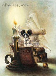 Pascal Moguerou - fairy reading Peter Pan in Kensington Gardens Magical Creatures, Fantasy Creatures, Illustrations, Illustration Art, Magia Elemental, Art Magique, Kobold, Elves And Fairies, Beautiful Fairies
