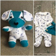 Keepsake Memory Puppy Dog Stuffed Animal: upcycled from your fabric hospital blanket sleepers baby clothes baby blanket clothing Sewing Stuffed Animals, Diy Bebe, Baby Sleepers, Sock Animals, Baby Animals, Baby Memories, Baby Keepsake, Animal Crafts, Baby Crafts