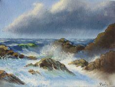 Landschaft marine Original Öl Gemälde auf Leinwand, signiert Alì italienische