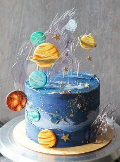 Beautiful Cake Designs, Beautiful Cakes, Amazing Cakes, Pretty Cakes, Cute Cakes, Planet Cake, Galaxy Cake, Homemade Birthday Cakes, Dessert Decoration