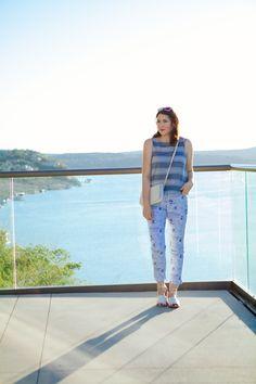 Kendi Everyday: A Weekend Away - striped boxy tank, printed pixie pants