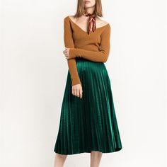 Spring New Velvet Pleated Skirt Vintage Winter Women Skirt Fashion Wild Europe New Arrivals Grey High Waist Skirts Womens 2016