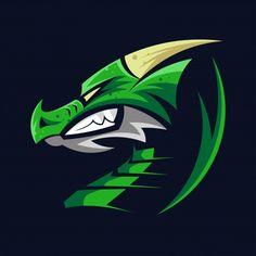 Logo Dragon, Logo Verde, Cute Tigers, Game Logo Design, Decoration Plante, Green Logo, Tree Illustration, Green Dragon, Dragon Head