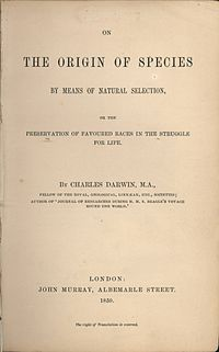 The title page of the 1859 edition  of 'On the Origin of Species' by Charles Darwin.