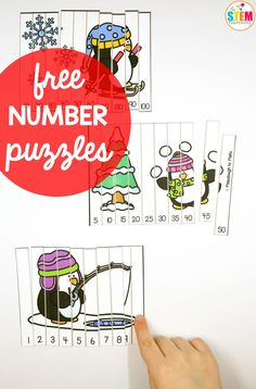 Looking for a fun way to practice 1, 2, 3 or skip counting with preschoolers or kindergarteners? These wintery penguin number puzzles are an easy prep, fun to play math activity. #wintermath #mathfreebies #thestemlaboratory