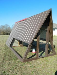 My brother's chicken coop made from an old wooden swing set that has been in our family for over 20 years.  GREAT IDEA!