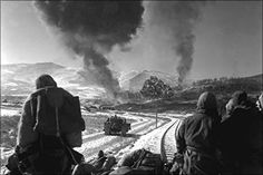24x36 Poster; U.S. Marines Watch Explosions Of Bombs Dropped By Marine Vought F4U Corsairs During The Battle Of Chosin Reservoir, Korea, In December 1950