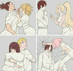 The couples: ShikaTema, InoSai, NaruHina, SasuSaku ♥♥♥