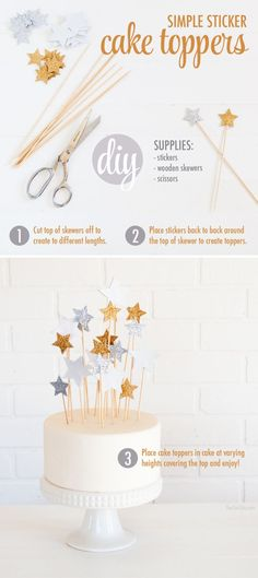 DIY Star Cake Toppers – The Chic Site simple cake topper for a kid's birthday cake – DIY tutorial Diy Cake Topper, Birthday Cake Toppers, Cupcake Toppers, Cake Birthday, Diy 1st Birthday Cake, Diy Cupcake, Birthday Ideas, Birthday Quotes, Simple Birthday Cakes