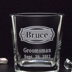 1 Groomsman Gifts - 1 'BUCKLEHEAD' WEDDING ROCKS Glass 12oz Etched Whiskey Glasses, Scotch Glasses, Cocktail Glasses Gifts for Bridal Party
