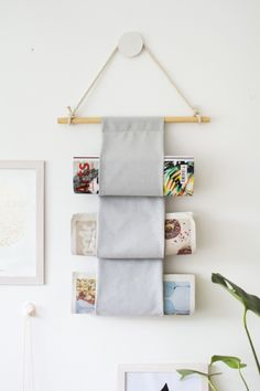 99 ways to use fabric to decorate your home | Hanging magazine holder