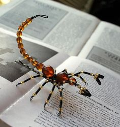 beaded scorpion hair pin