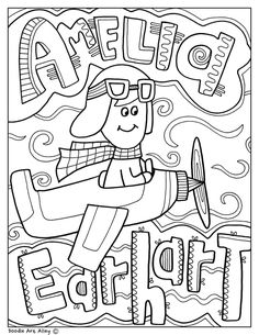 Amelia Earhart coloring pages and printables. Perfect for Women's History Month! By Doodle Art Alley at Classroom Doodles. Amelia Earhart, Bee Coloring Pages, Coloring Sheets For Kids, Best Homeschool Curriculum, Black History Month Activities, Coloring Pages Inspirational, Stem For Kids, Art Lessons Elementary, Color Activities