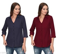 Shirts Glamorous Contemporary Women's Polyester Solid Women's Shirts(Pack Of 2) Fabric: Polyester   Sleeves: 3/4 Sleeves Are Included Size: S - 36 in M - 38 in L - 40 in XL - 42 in Length: Up To 28 in Type: Stitched Description: It Has 2 Pieces Of Women's Shirts Pattern: Solid Country of Origin: India Sizes Available: S, M, L, XL   Catalog Rating: ★4 (283)  Catalog Name: Glamorous Contemporary Women's Polyester Solid Women's Shirts Combo CatalogID_446772 C79-SC1022 Code: 405-3240263-1131