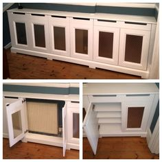 Hallway cupboard/radiator cover. When our client asked us to make a cabinet to fit a small nook in their hallway we just had to suggest extending it to cover the radiator. Voila! Super storage with several functions. #TwoBirdsOneStone #BespokeFurniture www.timamery.com