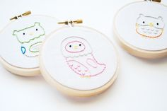 A collection of small critters embroidered in squares would make an adorable baby quilt! ~ Sheila