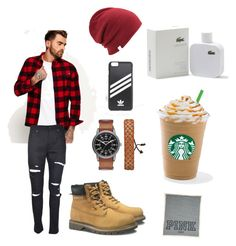 """""""Red,Brown and black and white"""" by nqhvd-sihdbs on Polyvore featuring Superdry, Yves Saint Laurent, Caterpillar, Arizona, Coal, adidas Originals, Lacoste, men's fashion et menswear"""