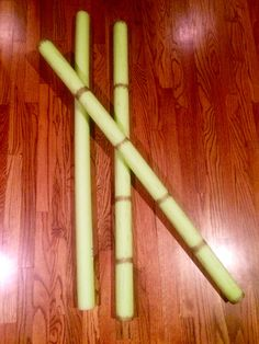 Pool Noodles into bamboo with golden Sharpie! Made for VBS Journey Off the Map 2015.