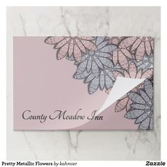 Pretty Metallic Flowers Paper Placemat