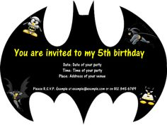 Kids birthday party invitation batman by nestedexpressions 20 batman birthday invitation templates free filmwisefo Choice Image