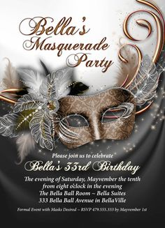 Masquerade Party Invitation Mardi Gras Party Party by BellaLuElla