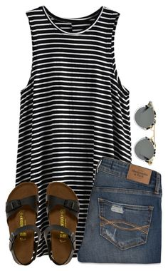 """Finley"" by lizzy-carson ❤ liked on Polyvore featuring Abercrombie & Fitch and Birkenstock"