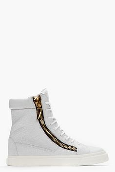 GIUSEPPE ZANOTTI White Pebbled Leather Sharktooth High-Top Sneakers