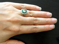 i need this in my lifeee  Vintage Art Deco Platinum Diamond Emerald by ArtifactJewels, $5500.00