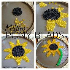 SUNFLOWER MELTED PONY BEADS COLLAGE