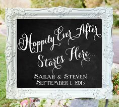 Happily Ever After Starts Here • Wedding Chalkboard Sign • Personalized Welcome Sign on Etsy, $100.00