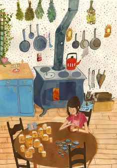 Crop of post-oil kitchen illustration by Robin Clugston Art And Illustration, Illustrations And Posters, Watercolor Illustration, Watercolor Art, Photo Images, Conte, Cute Art, Artsy, Art Prints
