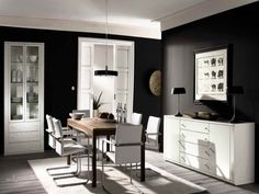 Choosing Room Paint Colors for Your House: Dark Black White Dining ...