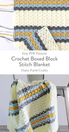 Etsy PDF Pattern - Crochet Boxed Block Stitch Blanket