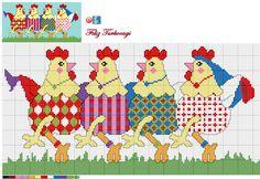 Designed by Filiz Türkocağı (Happy Chickens ) Chicken Cross Stitch, Cross Stitch Bird, Cross Stitch Animals, Cross Stitch Designs, Cross Stitching, Cross Stitch Embroidery, Cross Stitch Patterns, Cross Stitch Kitchen, Easter Cross