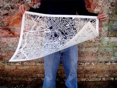amazing paper cut map by artist Karen O'Leary