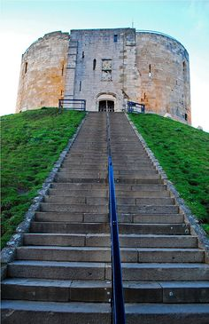 Clifford's Tower, York Castle, York, North Yorkshire, My girls use to love trying run up steps when small :) Yorkshire England, Yorkshire Dales, North Yorkshire, England And Scotland, England Uk, Northern England, Travel England, The Places Youll Go, Places To See